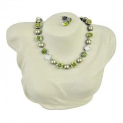 Schmuckset Collier Ohrringe Olivegrün Aracena Perlenland