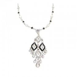 Halskette Strass Silber Schwarz DreamFactorJ