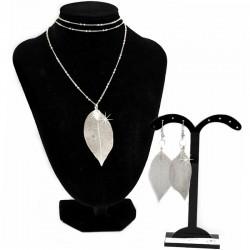 Set Silber Halskette mit Ohrringen Blätter DreamFactorJ