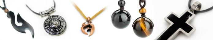 Halsbänder Leder Tiegeraug Obsidian Silber Chromstahl Bronze